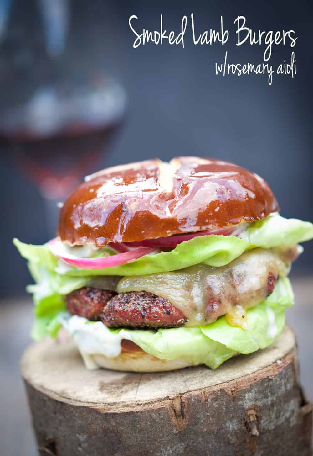 Smoked Lamb Burgers with Rosemary and Pickled Aioli