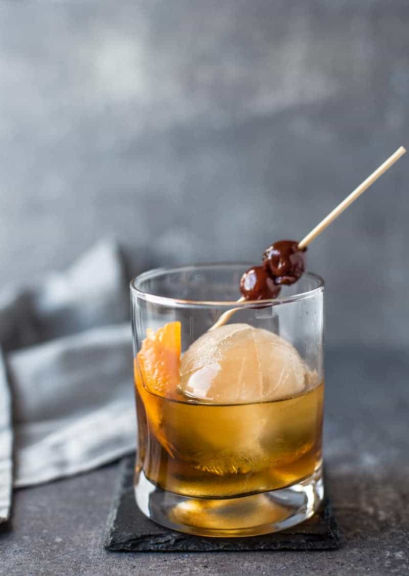 A Smoked Ice Cocktail: A twist on a classic Old Fashioned made with Smoked Ice!