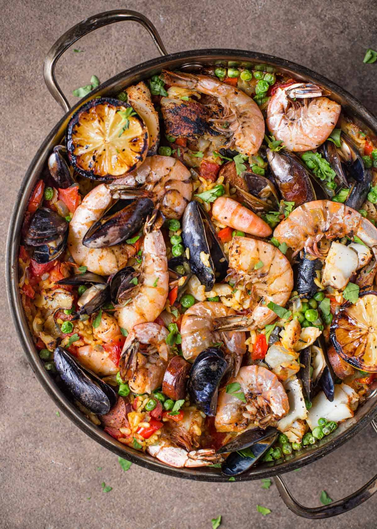 A large pan filled with seafood paella