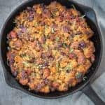 Smoked Sausage, Caramelized Onion, Cornbread Stuffing for Thanksgiving, cooked on the smoker or grill