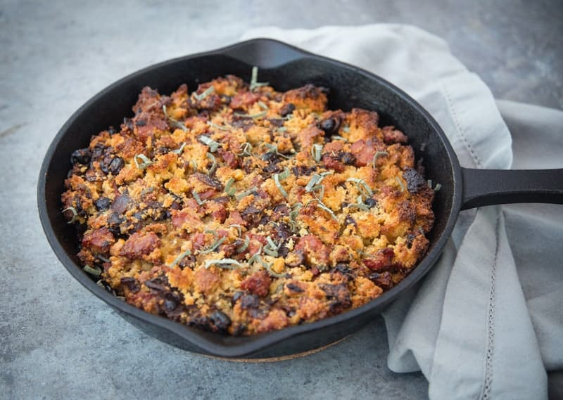 Smoked Sausage and Cornbread Stuffing cooked on the smoker or grill