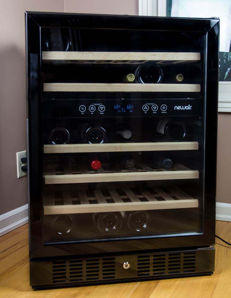 NewAir Black Stainless Steel Wine Cooler, 46 Bottle Dual Zone