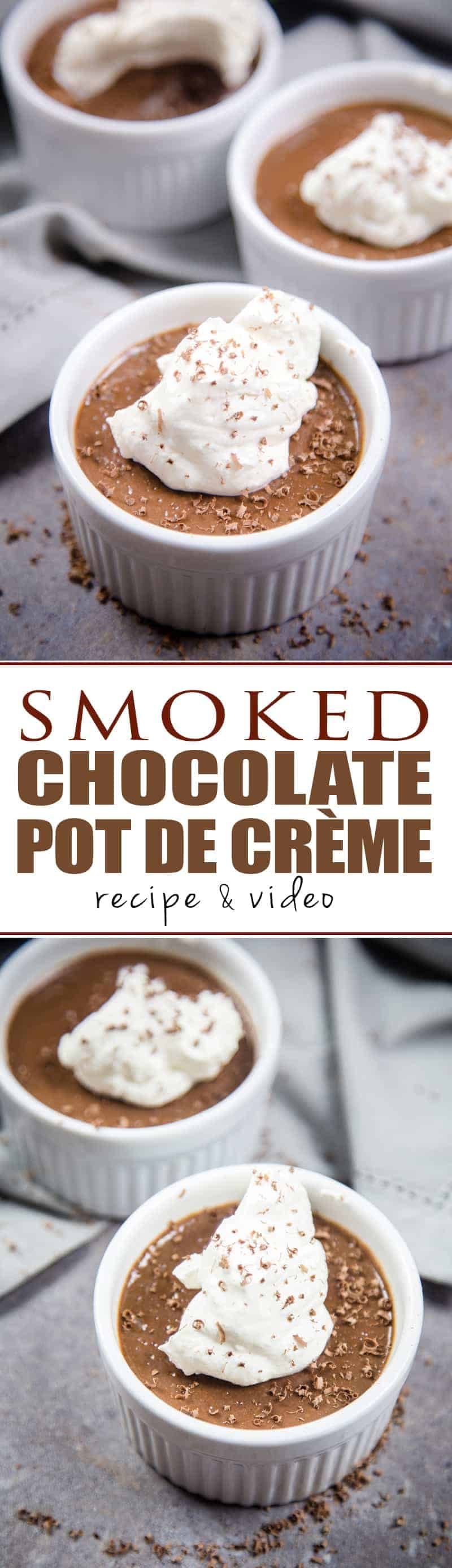Smoked Chocolate Pot de Crème (no bake). Silky, chocolaty, slightly smoky, and absolutely indulgent. Full recipe and video tutorial.