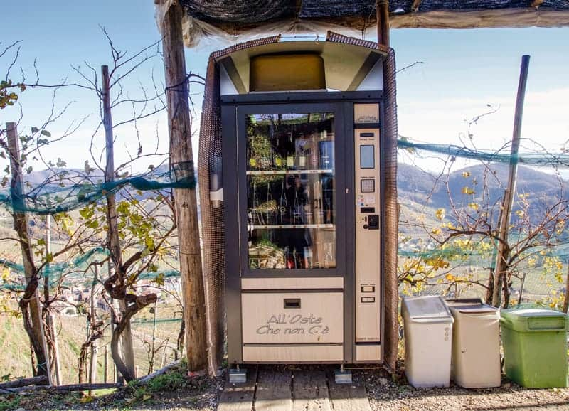 Prosecco vending machine located at L'Osteria senz'Oste, in Cartizze region within Valdobbiadene. Veneto, Italy.