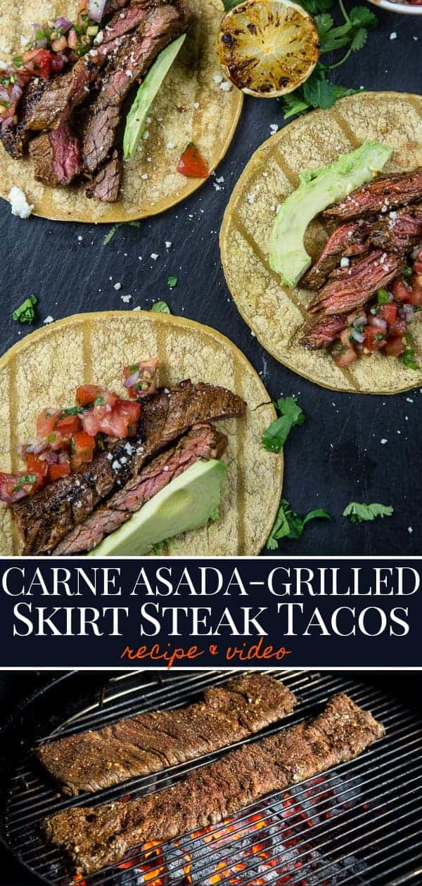 Carne Asada Tacos with salsa and avocado, skirt steak on a grill, pinterest image