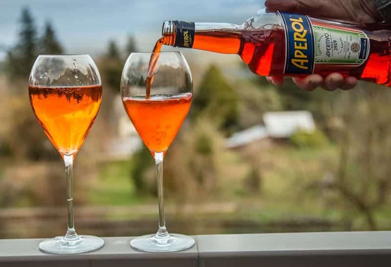 Classic Aperol Spritz cocktail being made.