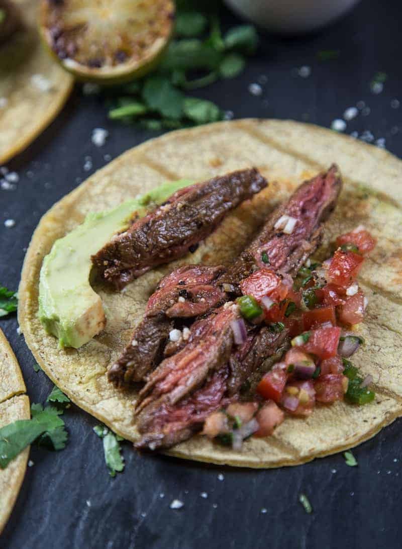 Grilled Carne Asada Steak Tacos close up