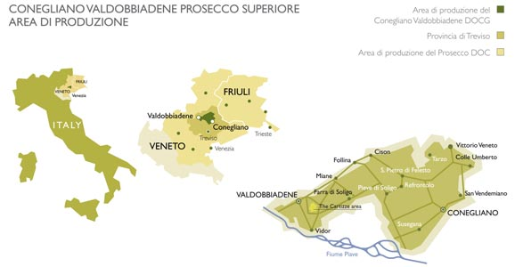 Map of Conegiliano Valdobbiadene Prosecco Superiore