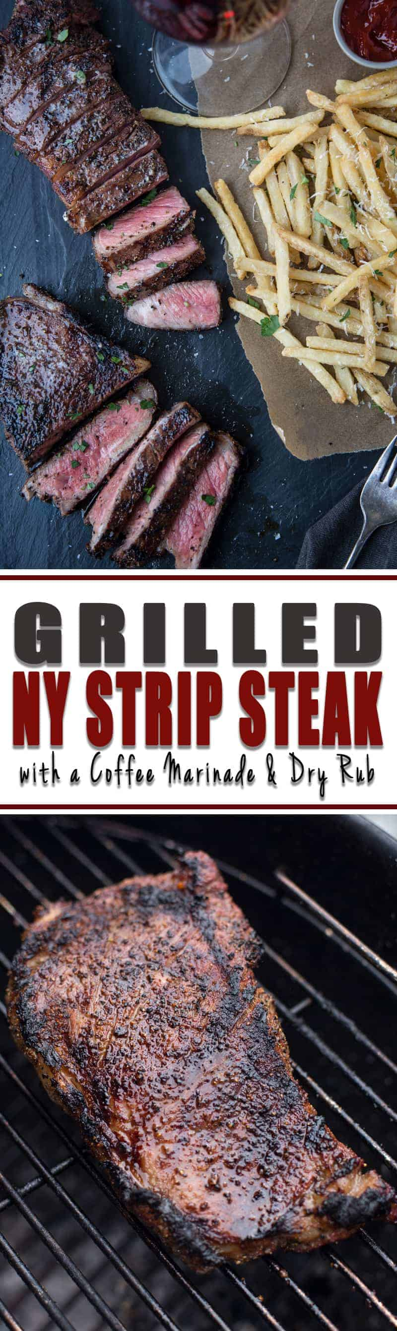 Long Pinterest Image for Coffee Marinated New York Strip Steak