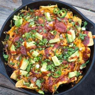Smoked Pulled Pork Nachos in a Cast Iron Skillet