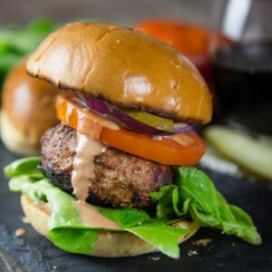 Turkey Burger made with Bacon Paste on a plate