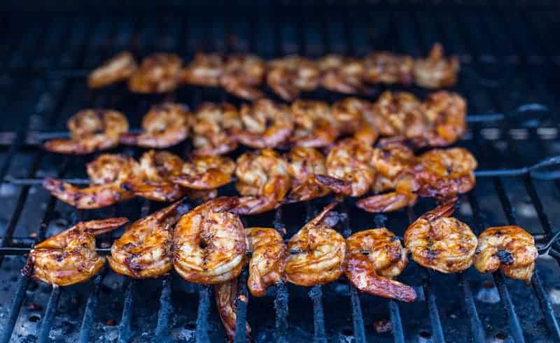 Chipotle Marinated Shrimp cooking on the grill
