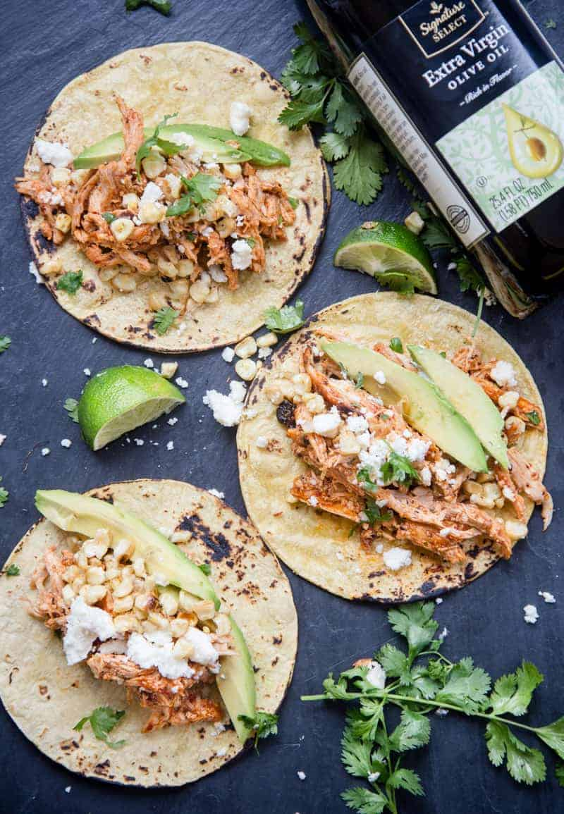 Chipotle Shredded Grilled Chicken Tacos