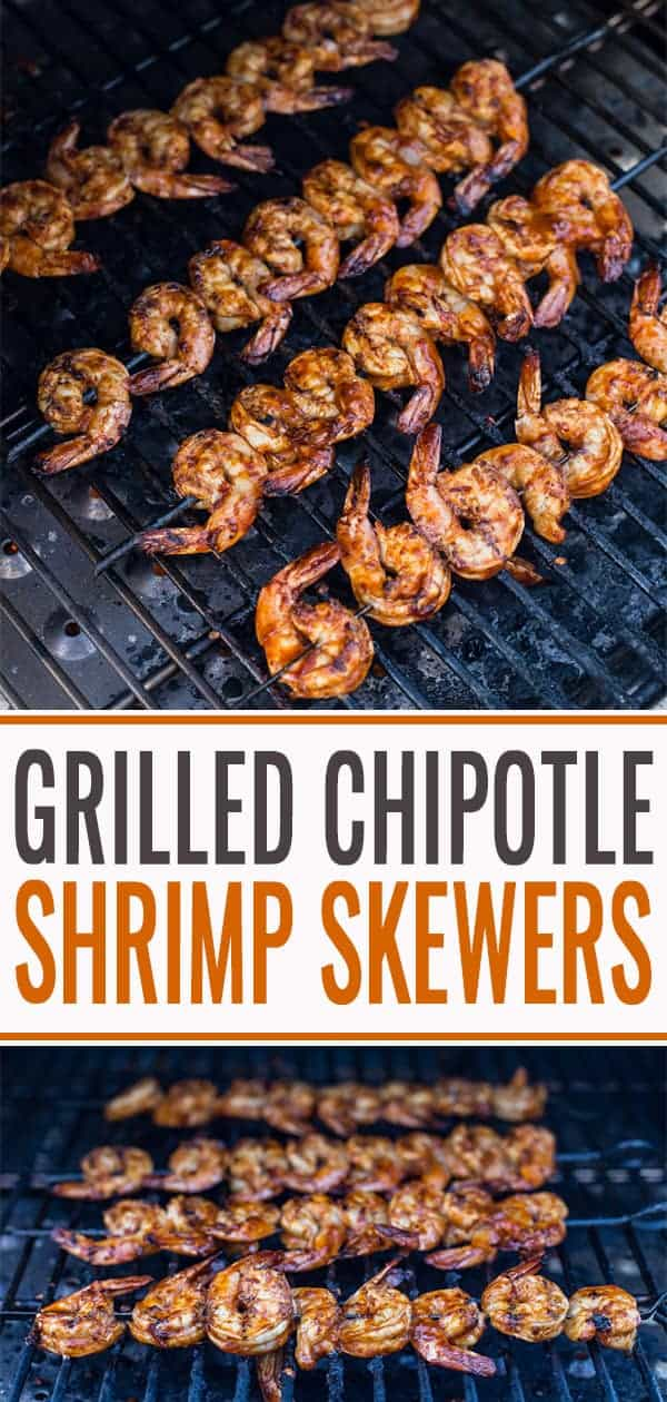Grilled Chipotle Marinated Shrimp Skewers pin for Pinterest