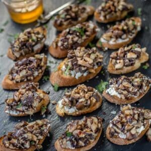 Grilled Mushroom Crostini with Smoked Honey and Aged Balsamic