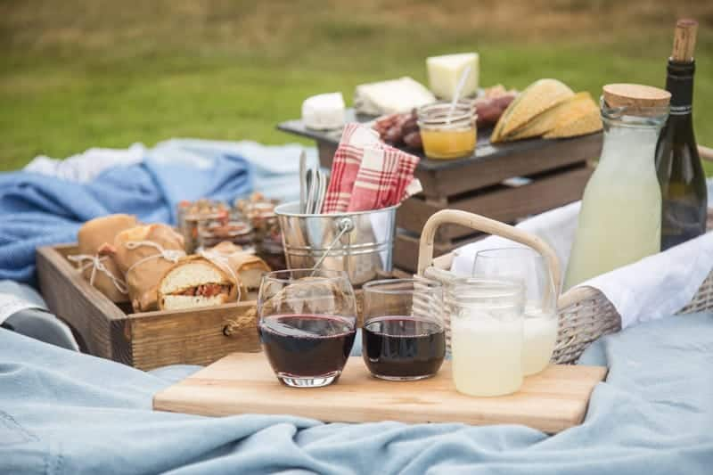 Picnic with Beaujolais Wine, Smoked Pork Tenderloin Sandwiches, and Lentil Salad