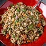 Cold Lentil Salad with Smoked Sausage in a Bowl