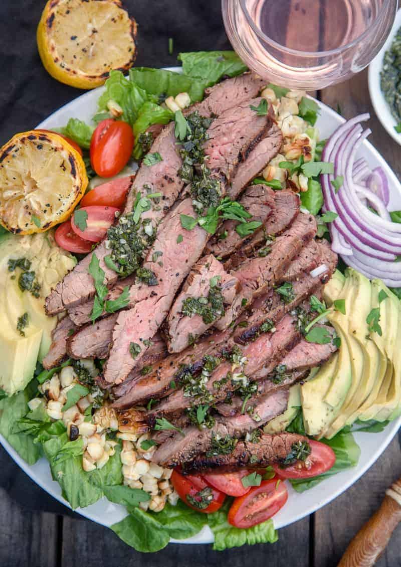 Grilled Flank Steak Salad served with rosé wine