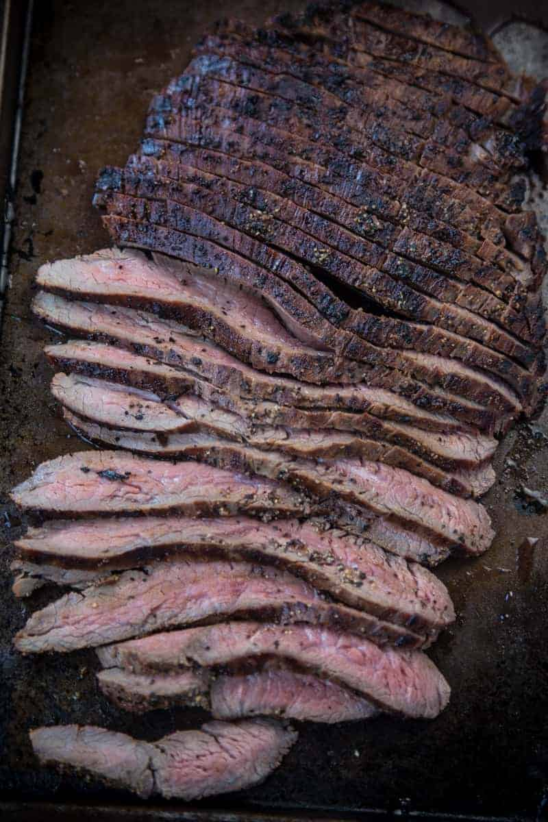 How to slice a grilled flank steak.