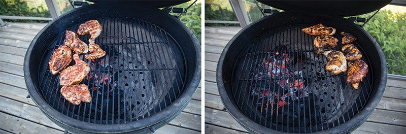 Direct vs Indirect heat cooking a chicken on a Big Green Egg