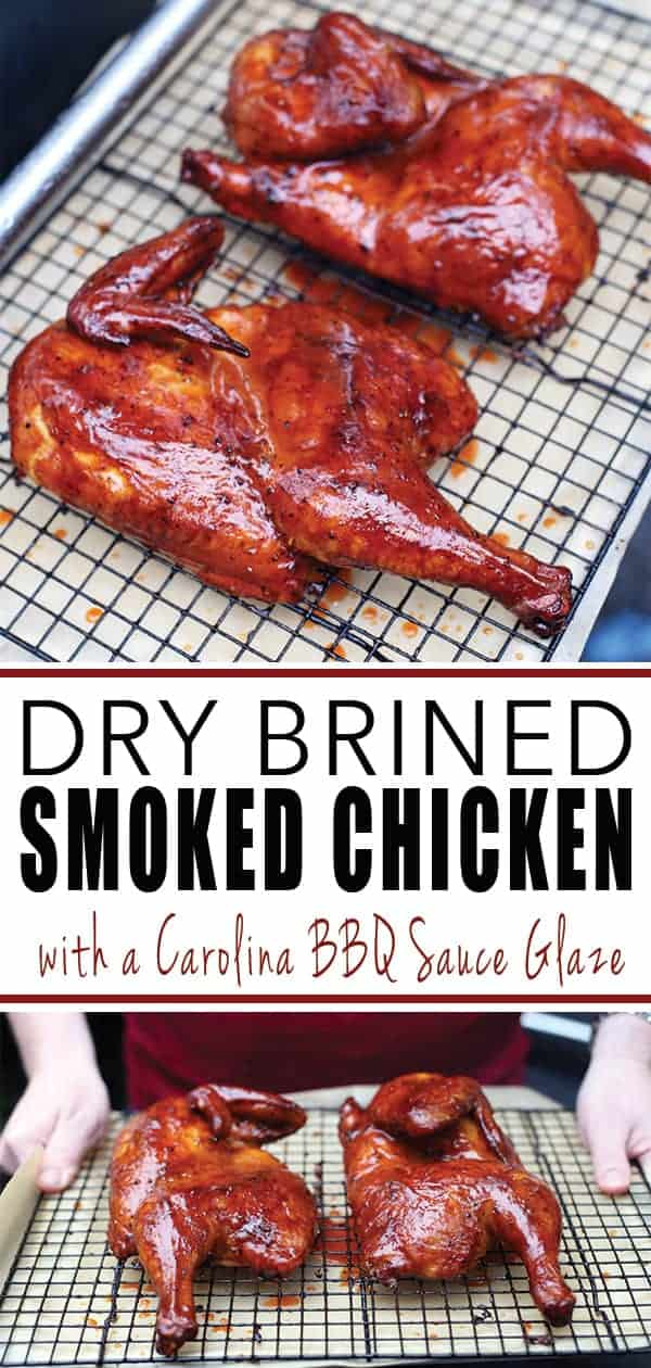 Dry Brined Smoked Chicken with Carolina Style BBQ Sauce Glaze