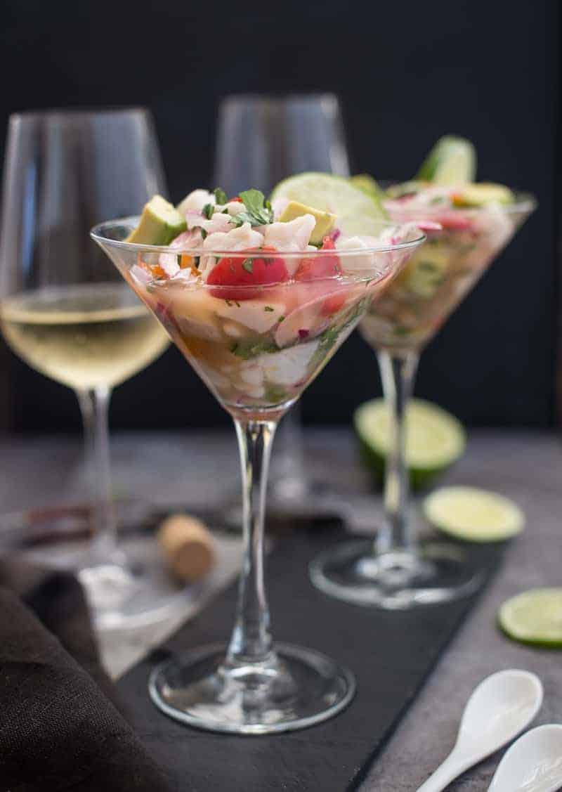 Classic Ceviche served in a Martini Glass