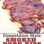 Competition style pork ribs pinterest image