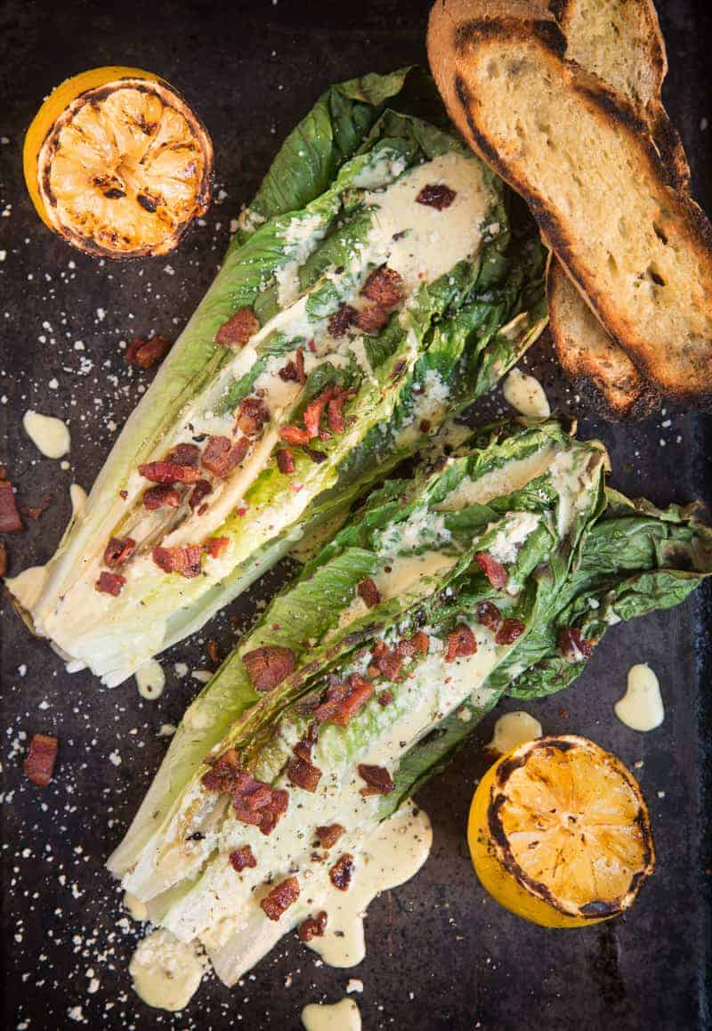 Grilled Caesar Salad with Crispy Bacon