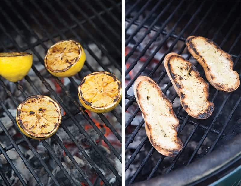 Grilling Lemons and Bread on the grill