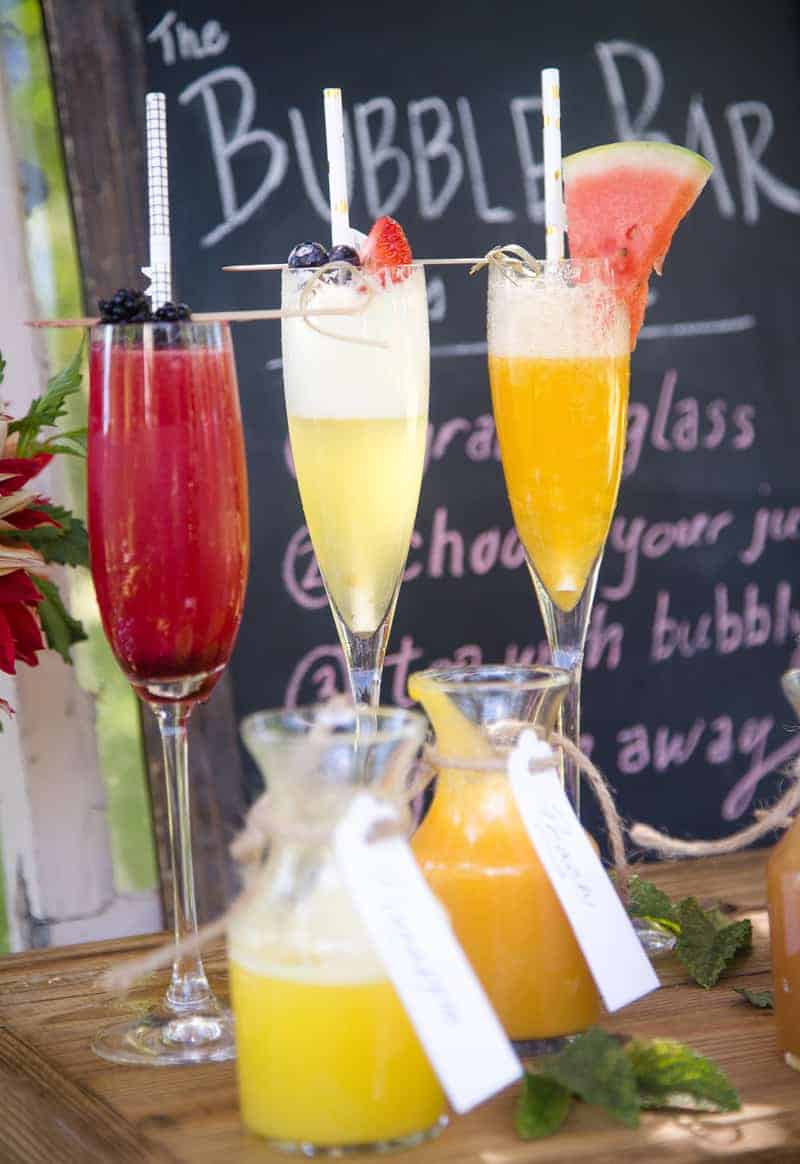 Classic Mimosa and different fruit juice variations