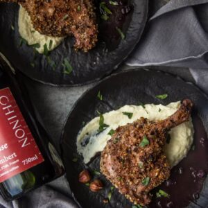 Hazelnut Crusted Grilled Duck with Chinon red wine