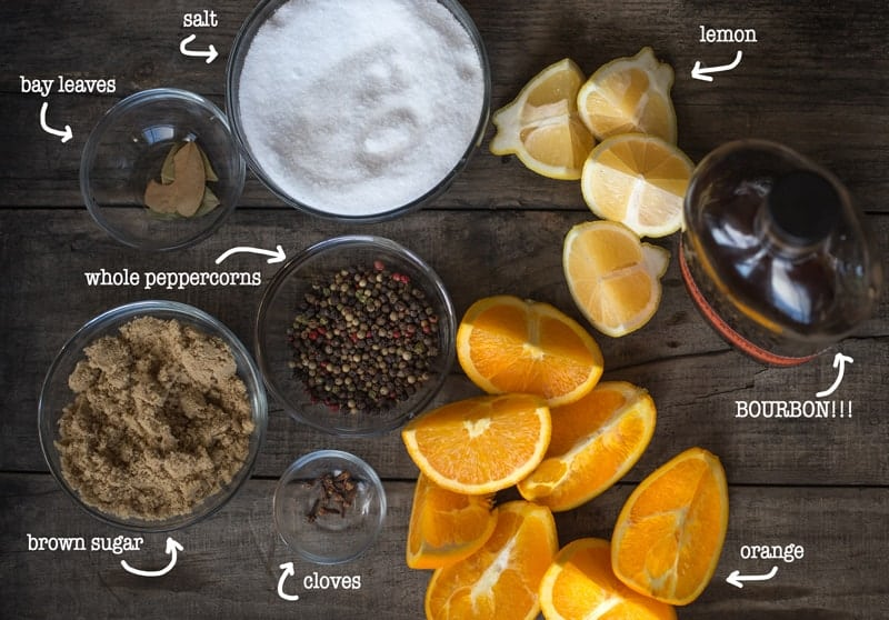 Ingredients for Bourbon Brine for a holiday turkey