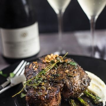 Grilled Pork Chops with Wine Brown Butter Sauce