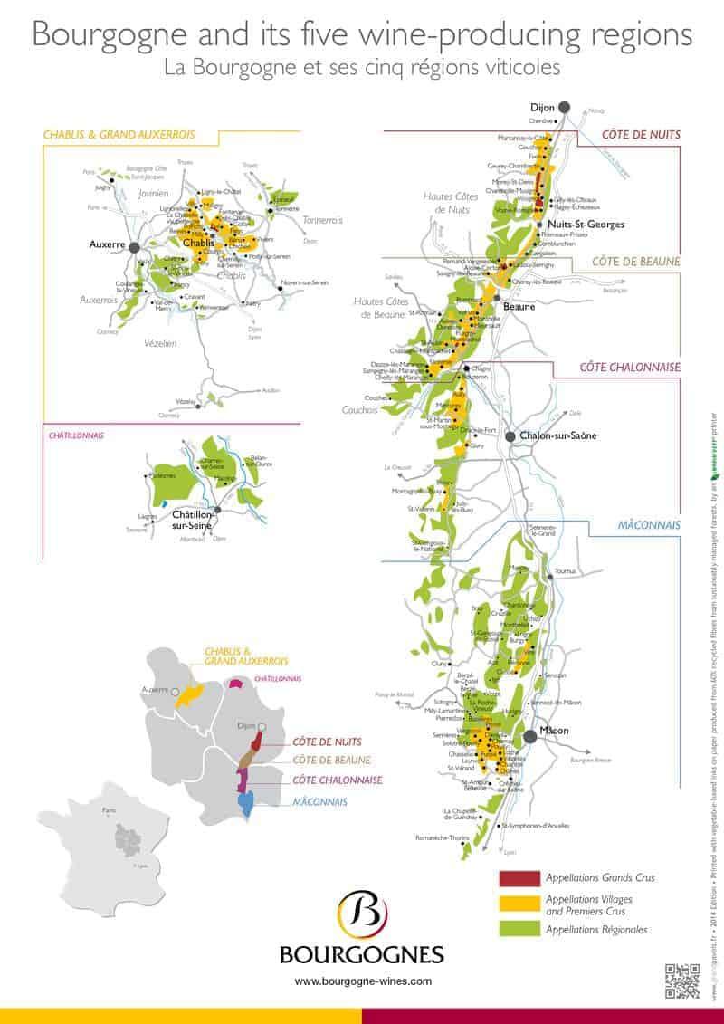 Map of Bourgogne (Burgundy) region of France