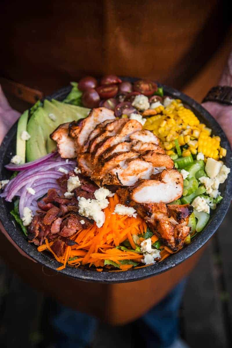 Grilled Buffalo Chicken Salad in a large bowl