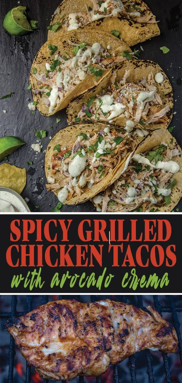 Spicy Grilled Chicken Tacos with Creamy Avocado Crema