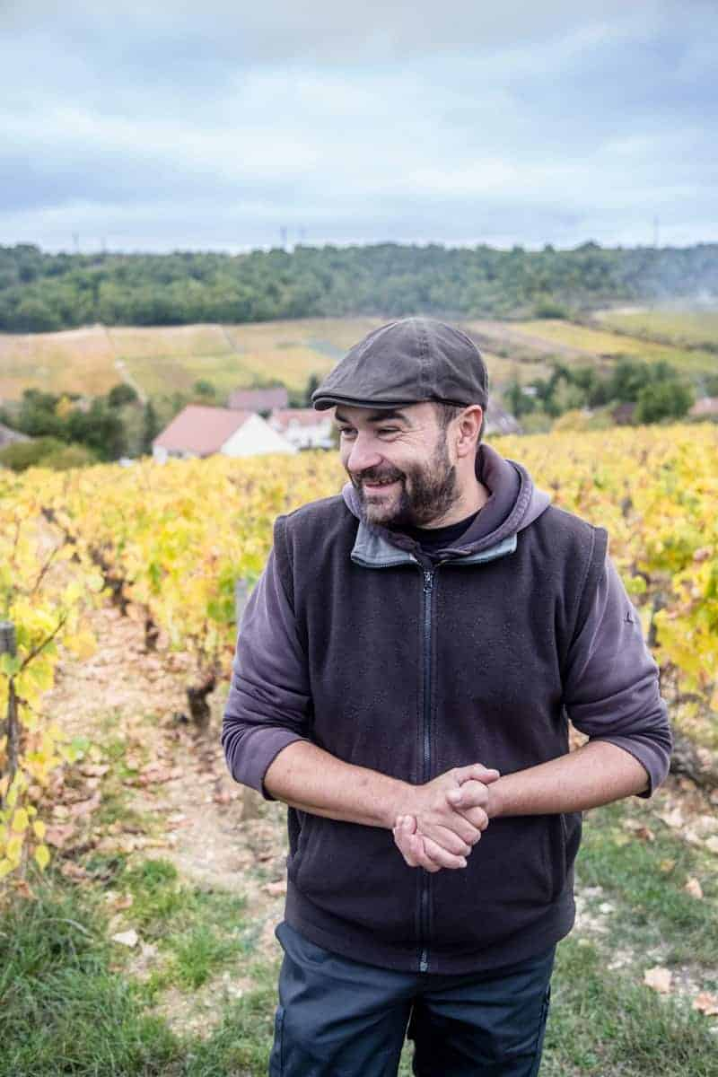 Xavier Moissenet, winemaker for Domaine Las Champs De Themis in Burgundy France