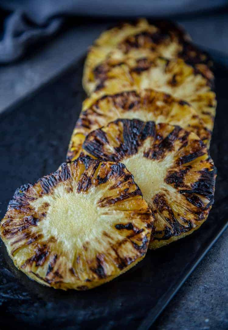 Grilled Pineapple slices on plate