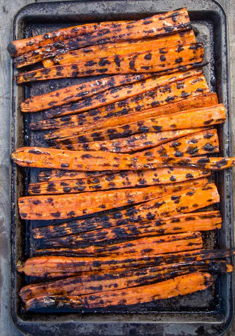 Grilled carrots on a sheet-pan
