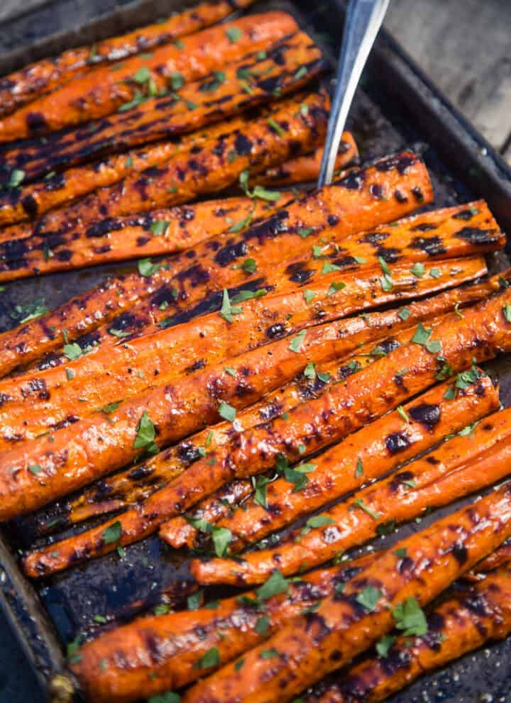 Grilled and Glazed Carrots on a serving platter