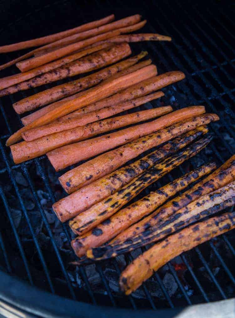 Carrots cooking on the grill