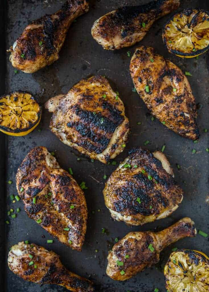 Perfect grilled chicken pieces on a platter