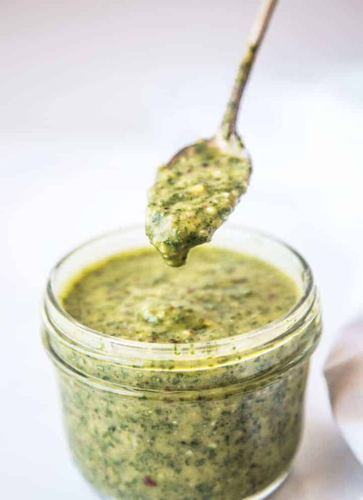Chimichurri Sauce in a mason jar