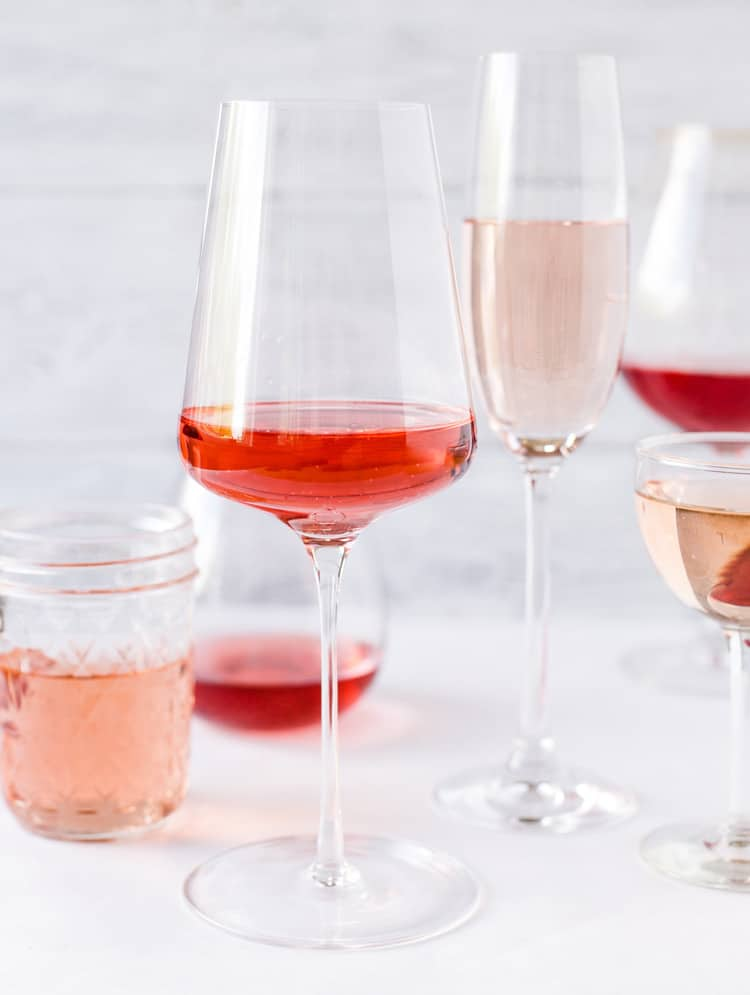 Different styles of rose wine in glasses