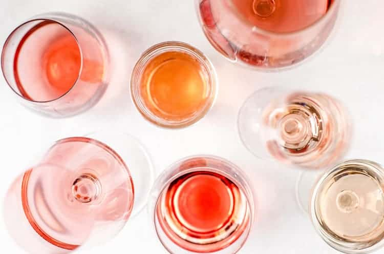 Rose wine styles in glasses