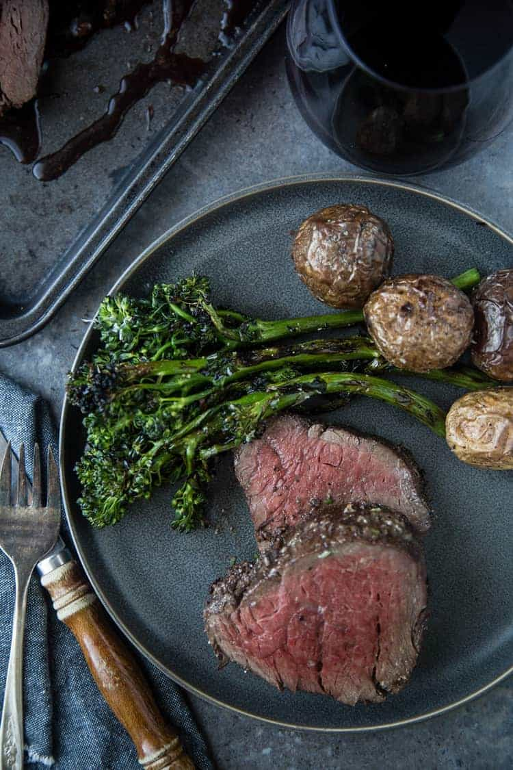 Beef Tenderloin on a plate with broccolini