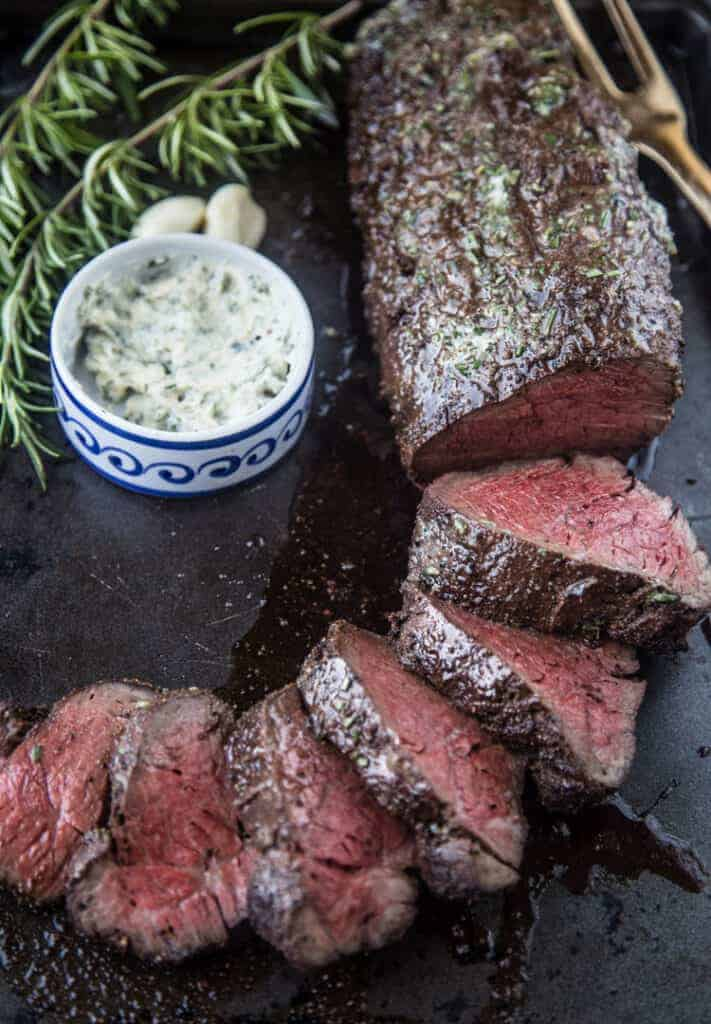 Choice Smoked Beef Tenderloin sliced showing choice vs. prime