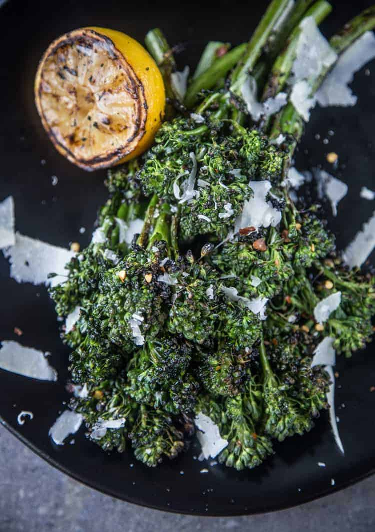 Grilled Broccolini served with Grilled Lemon and Shaved Parmesan