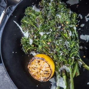 Grilled Broccolini with Grilled Lemon and Parmesan