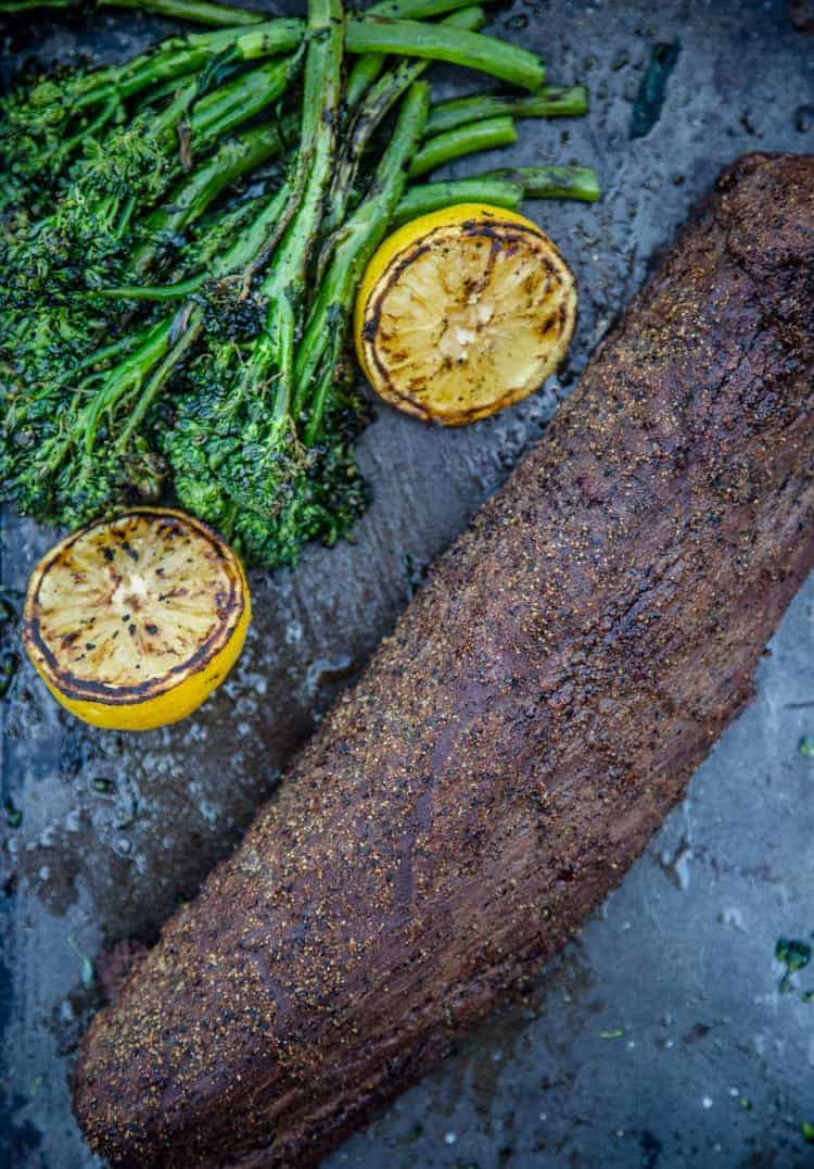 Grilled Broccolini and Beef Tenderloin